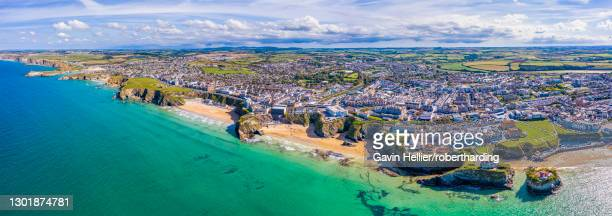 aerial view over the sandy beaches of newquay, cornwall, england, united kingdom, europe - gavin hellier stock pictures, royalty-free photos & images