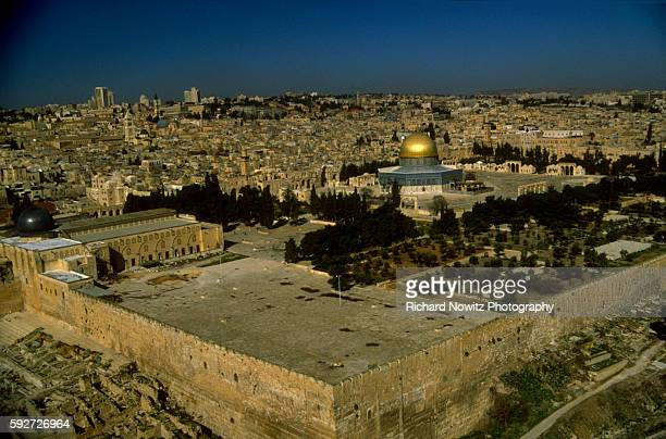 Aerial view over the Temple Mount Jerusalem looking north west toward the Dome of the Rock and the El Asqa Mosque Israel