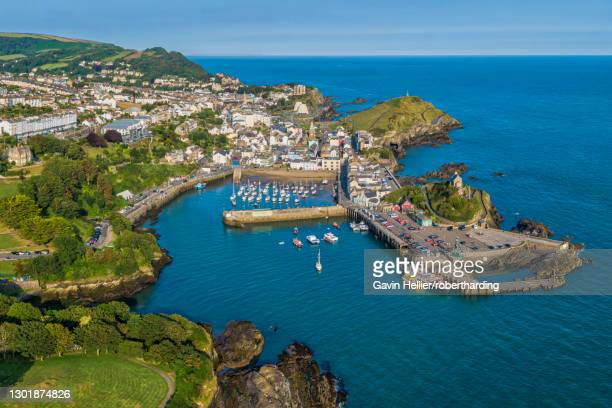 aerial view over the town of ilfracombe, north devon coast, devon, england, united kingdom, europe - gavin hellier stock pictures, royalty-free photos & images