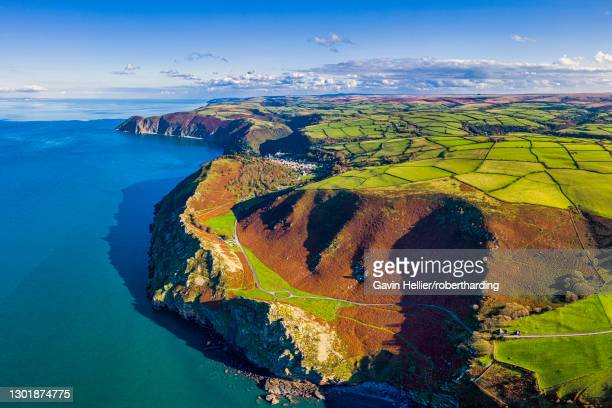 aerial view over the valley of the rocks and lynton, exmoor national park, north devon, england, united kingdom, europe - exmoor national park 個照片及圖片檔
