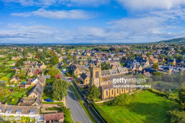 aerial view over the village of broadway, cotswolds, broadway, worcestershire, england, united kingdom, europe - gavin hellier stock pictures, royalty-free photos & images