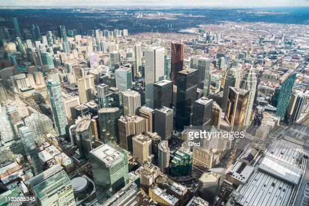 aerial view over toronto - toronto stock pictures, royalty-free photos & images