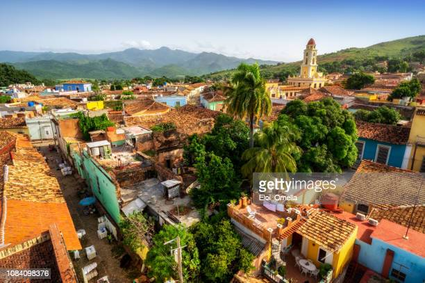 aerial view over trinidad, cuba - cuba stock pictures, royalty-free photos & images