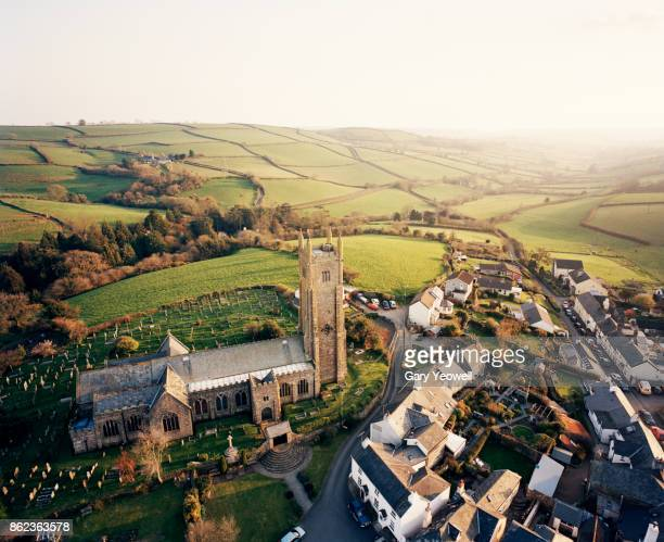 Aerial view over typical English town