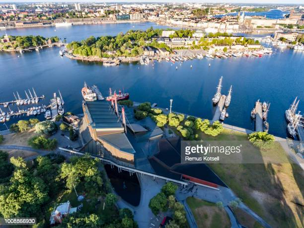 Flygfoto över Vasamuseet i Stockholm