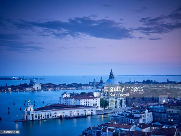 Aerial view over Venice Lagoon and Santa Maria Della Salute
