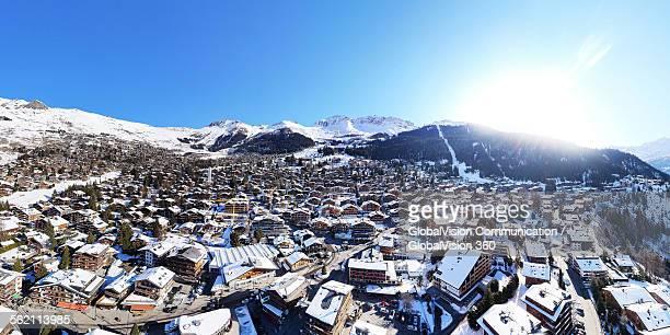 Aerial view over Verbier, Switzerland