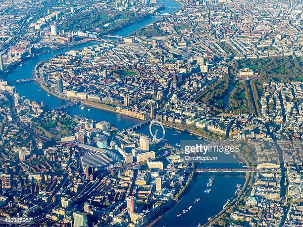 aerial view over westminster and river thames, london, england, uk - river thames stock pictures, royalty-free photos & images