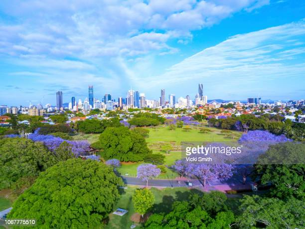 Aerial View overlooking Brisbane City Australia