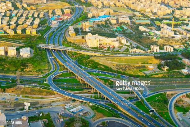 aerial view overpass. tehran, iran - bodensee karte stock-fotos und bilder