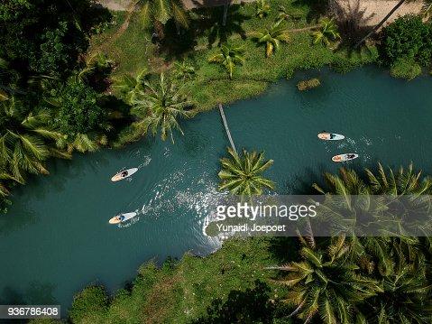 Aerial View Paddling at Cokel River Pacitan, East Java - Indonesia