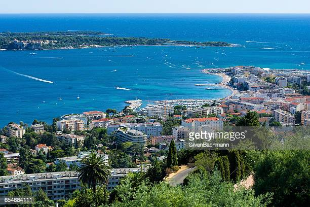 aerial view, palm beach, cannes, french riviera, france - palm beach cannes stock photos and pictures