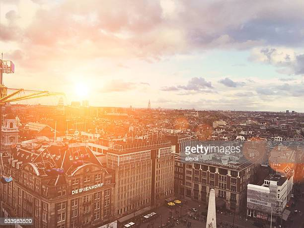 Aerial view panoramic cityscape sunset Amsterdam, Netherlands