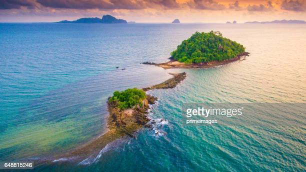 Aerial view Panoramic sea view and coastline in asia