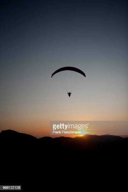 Aerial view, paraglider, Altenau, Bavaria, Germany