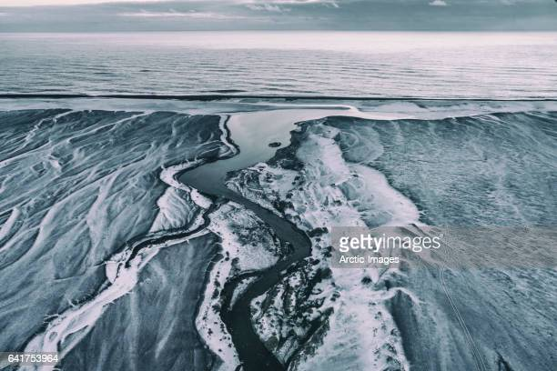 Aerial view- patterns in the sand, Iceland