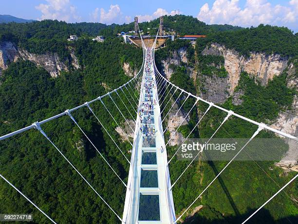 Aerial view photo shows tourists visiting on the glassbottom bridge at Zhangjiajie Grand Canyon on August 20 2016 in Zhangjiajie Hunan Province of...