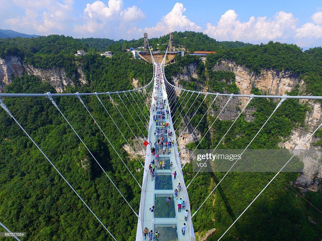 Zhangjiajie Grand Canyon's Glass-bottom Bridge Opens To Tourists : News Photo