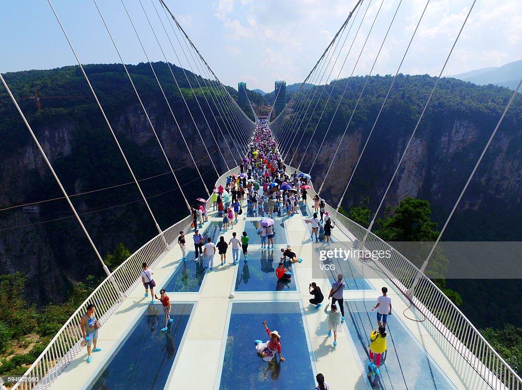 Zhangjiajie Grand Canyon\'s Glass-bottom Bridge Opens To Tourists : News Photo