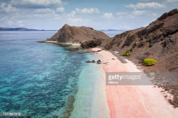 aerial view playa rosa isla komodo indonesia - komodo fotografías e imágenes de stock