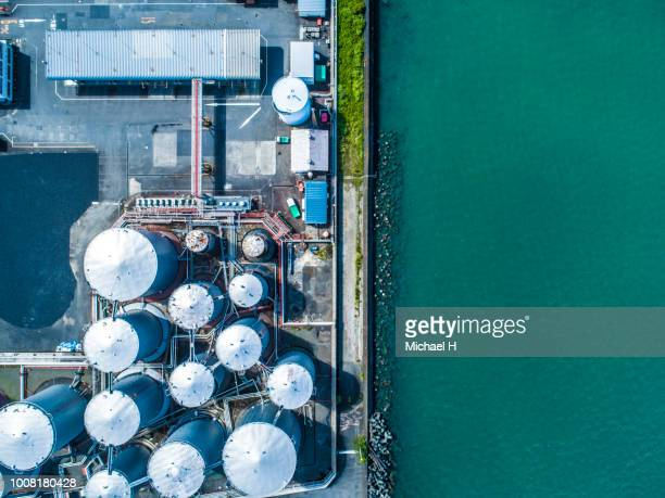 Aerial view. Piping and tanks of industrial factory