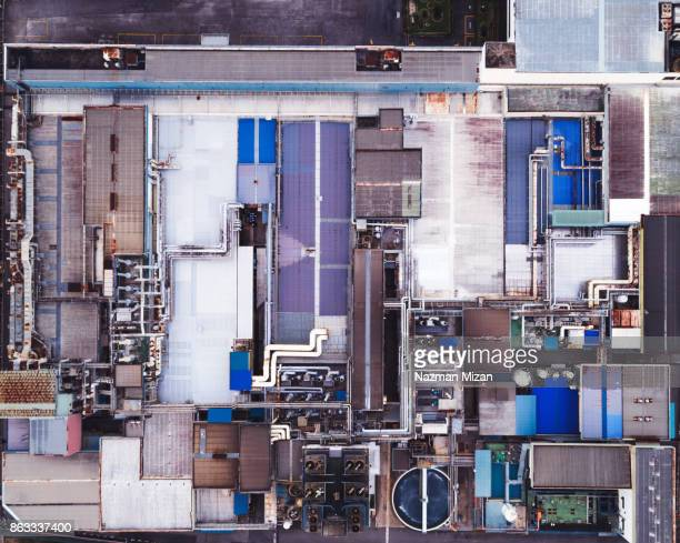 Aerial view. Piping and valves of industrial factory.