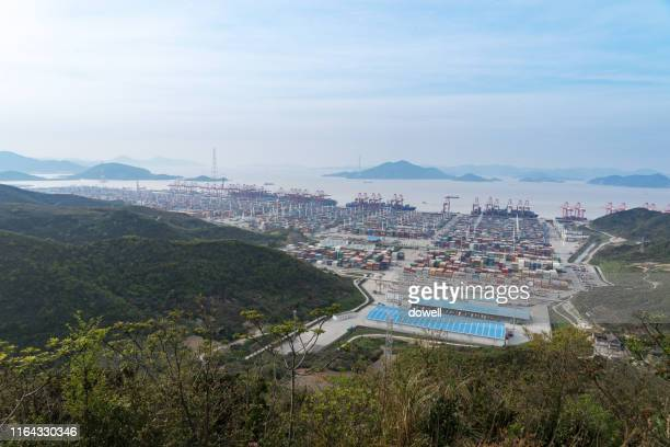 aerial view port - ningbo stock pictures, royalty-free photos & images