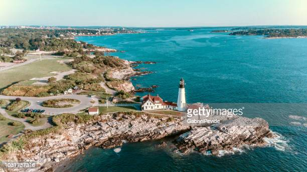 aerial view portland head lighthouse maine usa - new england usa stock pictures, royalty-free photos & images