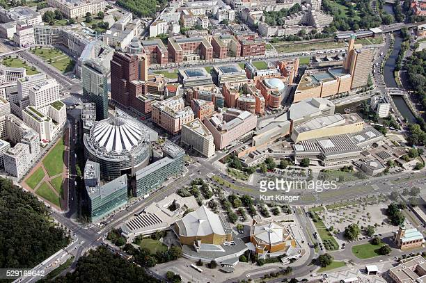 aerial view potsdamer platz and sony center in berlin - sony center berlin stock pictures, royalty-free photos & images