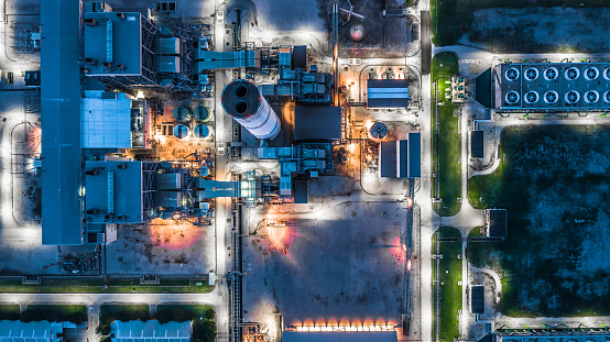 Aerial view power plant, Combined cycle power plant electricity generating station industry. 1043558202
