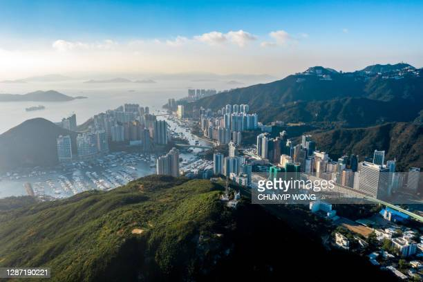 aerial view residential district in aberdeen and ap lei chau of hong kong - hong kong stock pictures, royalty-free photos & images