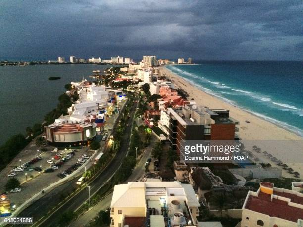 Aerial view resorts in Cancun