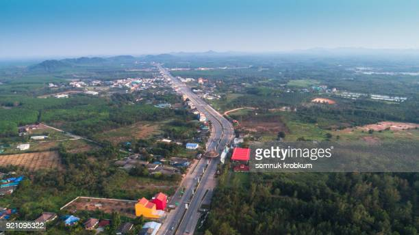 Aerial view road by drone in Trat province;Thailand