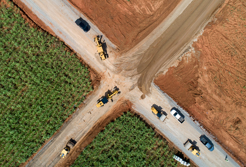 Aerial view road construction site machine - gettyimageskorea
