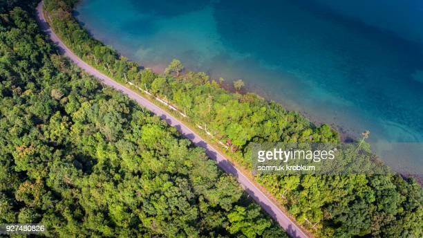 Aerial view road  on sea coastline.