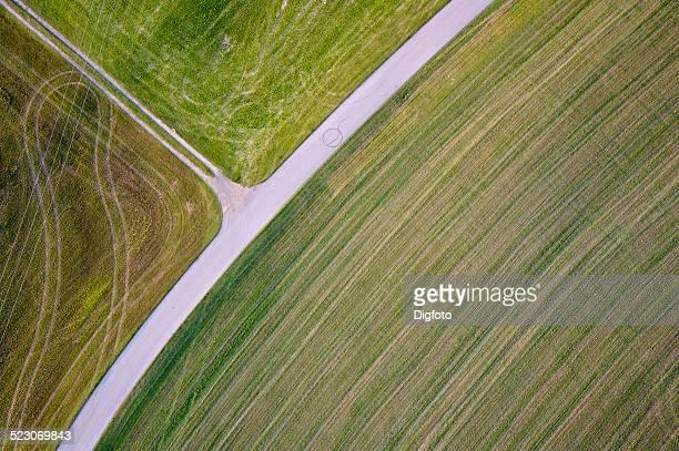 Aerial view, road through fields in Chiemgau, Upper Bavaria, Bavaria, Germany, Europe
