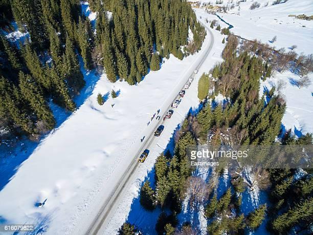 Aerial view Road through Tianshan Mountain in winter,Xinjiang,China.