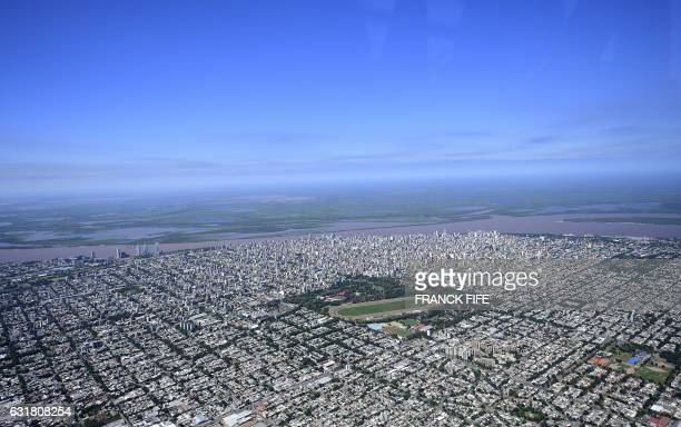 TOPSHOT Aerial view Rosario's city center Santa Fe province Argentina during the 2017 Rally Dakar on January 14 2017