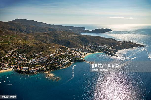 aerial view, roses, golf de roses, catalonia, spain - roses catalonia stock pictures, royalty-free photos & images
