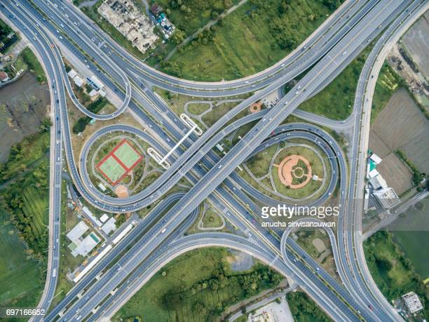 Aerial view roundabout road have public park , top view , thailand .
