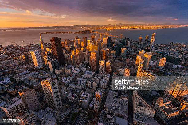 aerial view san francisco - san francisco california stock photos and pictures