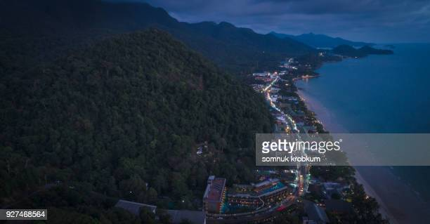 Aerial view sea coastline after sunset in Koh Chang;Thailand