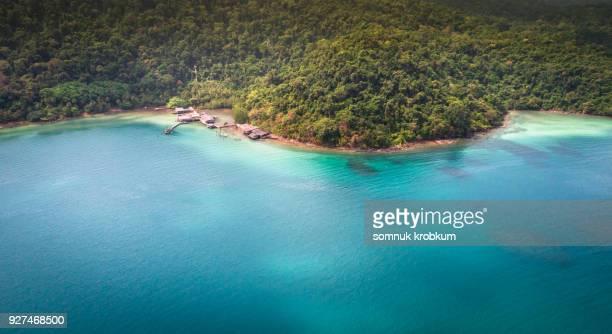 Aerial view sea coastline in Koh Kut ;Thailand