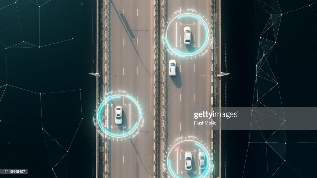 4K-Luftaufnahme selbstfahrende Autopilot-Autos : Stock-Foto