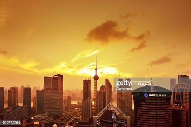 Aerial View Shanghai Skyline at Sunset