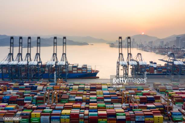 aerial view shenzhen yantian port  druing sunset - harbour stock pictures, royalty-free photos & images