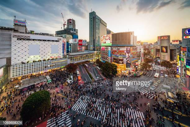 aerial view shibuya crossing tokyo japan - tokyo japan stock pictures, royalty-free photos & images