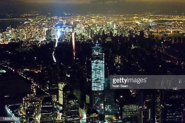 Aerial view shot at night shows Manhattan in the aftermath of superstorm Sandy including the blackout from the powercut south of 39th street on...