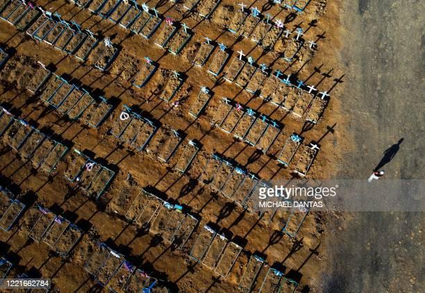 TOPSHOT Aerial view showing a man walking past graves in the Nossa Senhora Aparecida cemetery in Manaus on June 21 2020 The novel coronavirus has...