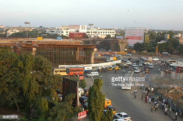 Aerial View showing construction work of Flyover is in progress at the Kathipara Junction in Chennai Tamil Nadu India